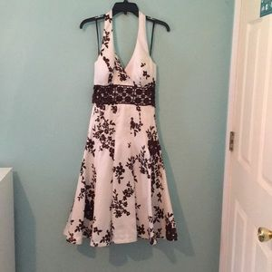 Beautiful white and brown halter dress.
